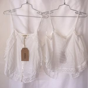 Listicle white eyelet crop top NWT